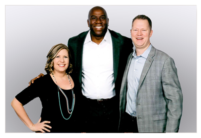 The Royans meet Magic Johnson at Starkey Hearing Event